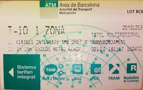 Tarjeta de metro Barcelona