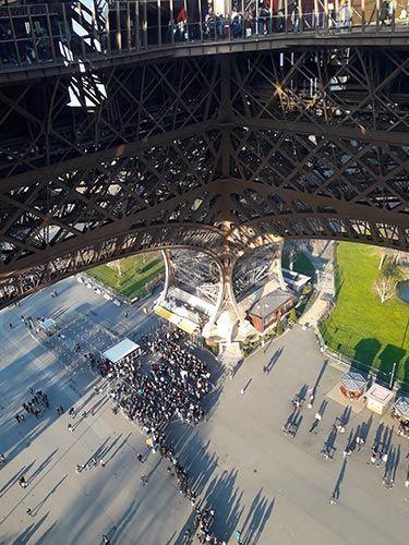 Colas para entrar a la Torre Eiffel