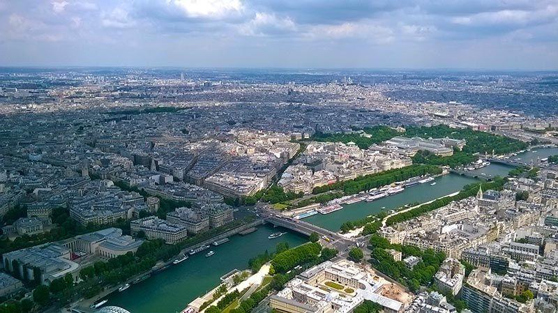 Vistas a París desde el 1er nivel de la Torre Eiffel